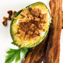 Loaded Avocado Baked Eggs Ketogenic Recipe