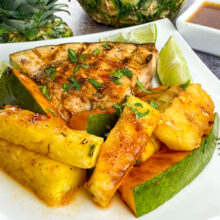 Garlic-Chili Swordfish with Grilled Pineapple and Papaya