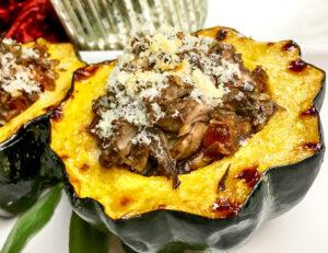 Portobello Mushrooms and Sage-Stuffed Acorn Squash
