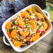 Asian Cabbage Salad with Warm Spicy Peanut Dressing