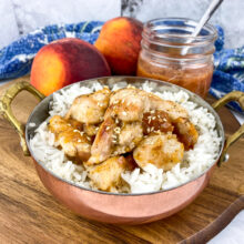 Chicken and Rice with Warm Peach Sauce