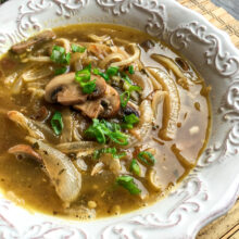 Daikon Noodle Soup with Caramelized Onions and Mushrooms