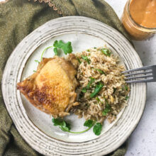 Dutch Oven Chicken and Rice with Spicy Peanut Sauce