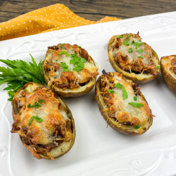 Baked Potato Skins - Barbecue Chicken and Caramelized Onions | Amazing Appetizer
