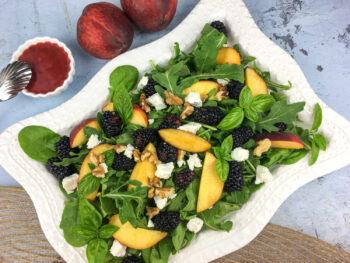 Peach Blackberry Salad with Blackberry-Basil Vinaigrette   Soups and Salads