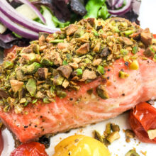 Pistachio Crusted Salmon with Blistered Cherry Tomatoes