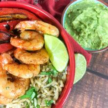 Shrimp Fajita Bowls with Cilantro Lime Rice | Fresh Seafood Recipes