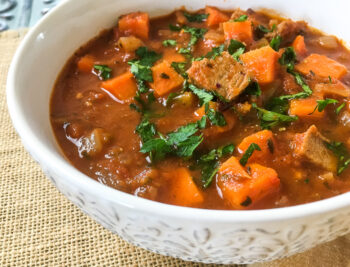 One Pot Spicy Pork and Sweet Potato Stew   Quick and Easy