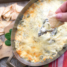 Warm Spinach Artichoke Dip with Toasted Corn Tortilla Chips | Summer Entertaining