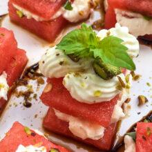 Watermelon, Whipped Feta and Basil Bites | Summer Entertaining