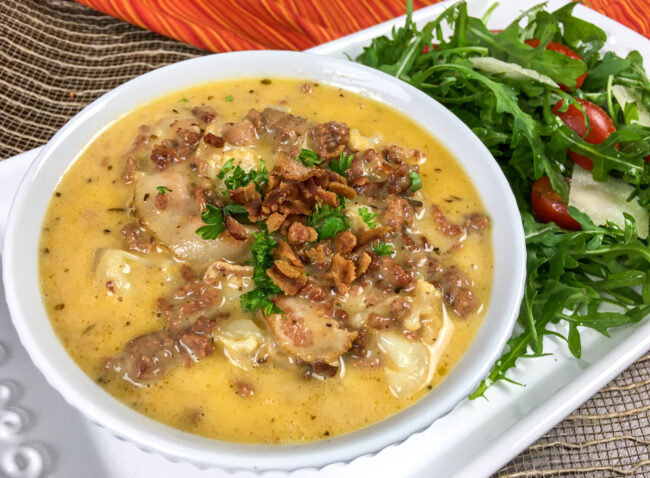 One Skillet Bacon Cheeseburger Soup | Monthly Kitchen-Tested Recipes