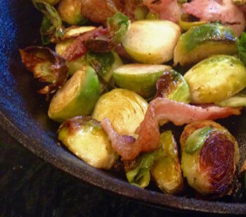 Pan Roasted Brussels Sprouts and Bacon   Living Low Carbs Recipes