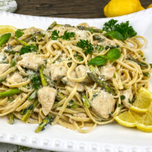 Creamy Chicken and Asparagus Linguine | Monthly Kitchen-Tested Recipes
