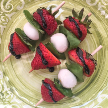 Strawberry Caprese Skewers with Balsamic Glaze   Cocktails, Mocktails, Appetizers Recipes