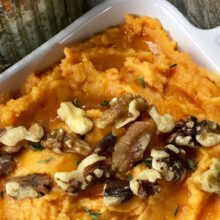 Creamy Mashed Sweet Potatoes with Fresh Thyme | Healthy Holiday Recipes